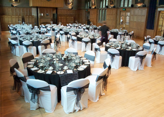 Chair Cover hire and venue styling for Masterchef event at Sheffield University